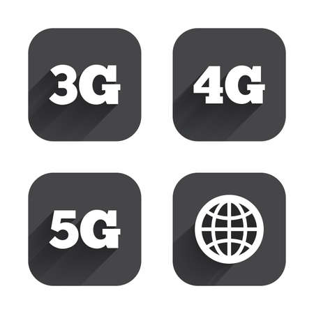 3g: Mobile telecommunications icons. 3G, 4G and 5G technology symbols. World globe sign. Square flat buttons with long shadow.