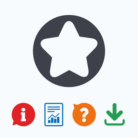 navigation mark: Star sign icon. Favorite button. Navigation symbol. Information think bubble, question mark, download and report. Illustration