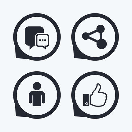 link up: Social media icons. Chat speech bubble and Share link symbols. Like thumb up finger sign. Human person profile. Flat icon pointers.