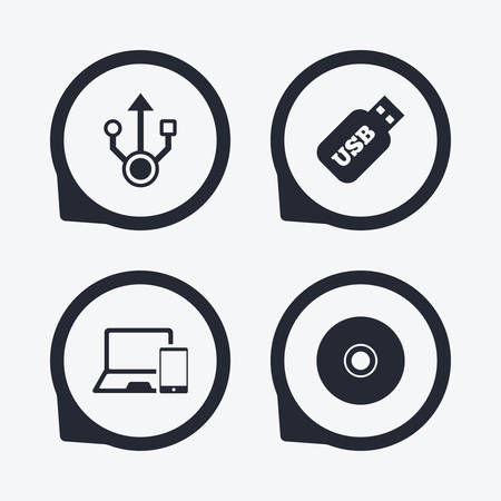 device disc: Usb flash drive icons. Notebook or Laptop pc symbols. Smartphone device. CD or DVD sign. Compact disc. Flat icon pointers.