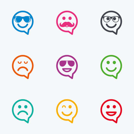 dismal: Smile speech bubbles icons. Happy, sad and wink faces signs. Sunglasses, mustache and laughing lol smiley symbols. Flat colored graphic icons. Illustration