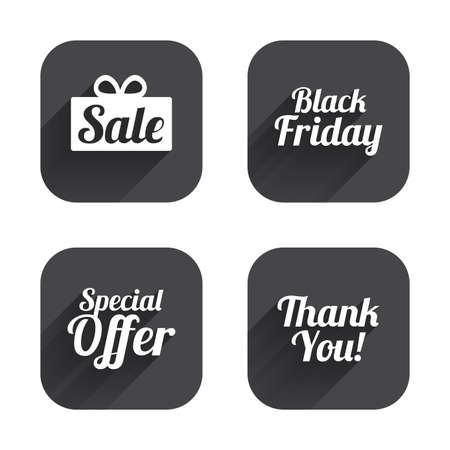you are special: Sale icons. Special offer and thank you symbols. Gift box sign. Square flat buttons with long shadow.