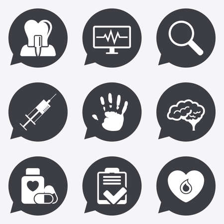 neurology: Medicine, medical health and diagnosis icons. Blood, syringe injection and neurology signs. Tooth implant, magnifier symbols. Flat icons in speech bubble pointers.