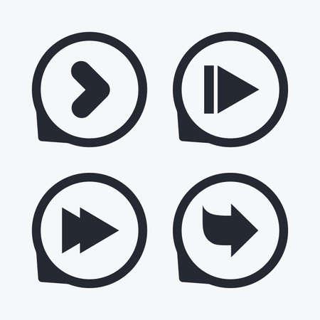 arrowhead: Arrow icons. Next navigation arrowhead signs. Direction symbols. Flat icon pointers. Illustration