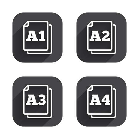 a3: Paper size standard icons. Document symbols. A1, A2, A3 and A4 page signs. Square flat buttons with long shadow.