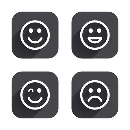 wink: Smile icons. Happy, sad and wink faces symbol. Laughing lol smiley signs. Square flat buttons with long shadow. Illustration