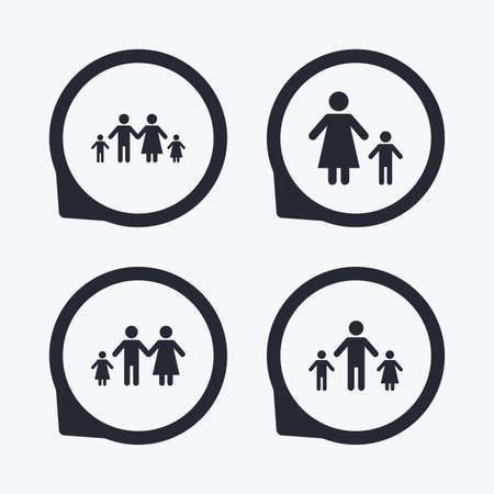 orphan: Family with two children icon. Parents and kids symbols. One-parent family signs. Mother and father divorce. Flat icon pointers. Illustration