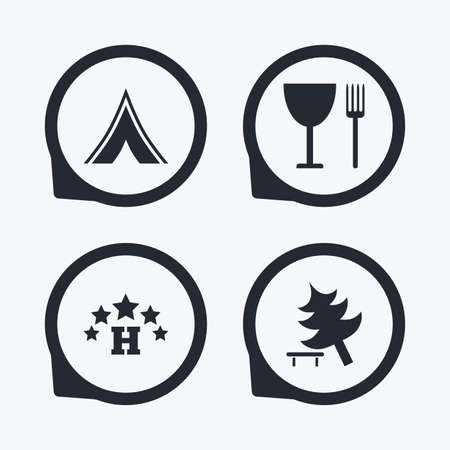 break down: Food, hotel, camping tent and tree icons. Wineglass and fork. Break down tree. Road signs. Flat icon pointers.