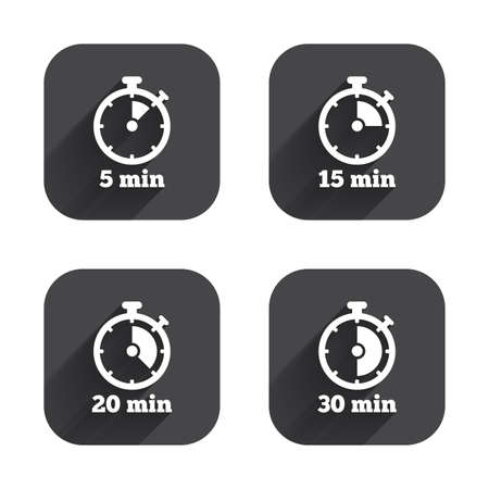 15 20: Timer icons. 5, 15, 20 and 30 minutes stopwatch symbols. Square flat buttons with long shadow.