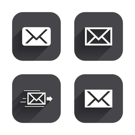 Mail envelope icons. Message delivery symbol. Post office letter signs. Square flat buttons with long shadow.