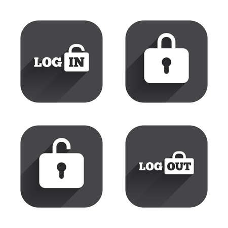 lock out: Login and Logout icons. Sign in or Sign out symbols. Lock icon. Square flat buttons with long shadow. Illustration