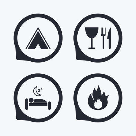 breakfast in bed: Food, sleep, camping tent and fire icons. Knife, fork and wineglass. Hotel or bed and breakfast. Road signs. Flat icon pointers.
