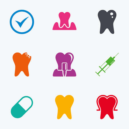 odontology: Tooth, dental care icons. Stomatology, syringe and implant signs. Healthy teeth, caries and pills symbols. Flat colored graphic icons.