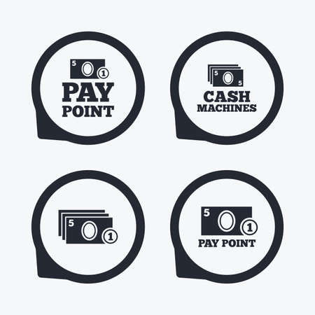 withdrawals: Cash and coin icons. Cash machines or ATM signs. Pay point or Withdrawal symbols. Flat icon pointers. Illustration