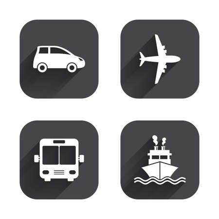 shipping by air: Transport icons. Car, Airplane, Public bus and Ship signs. Shipping delivery symbol. Air mail delivery sign. Square flat buttons with long shadow. Illustration