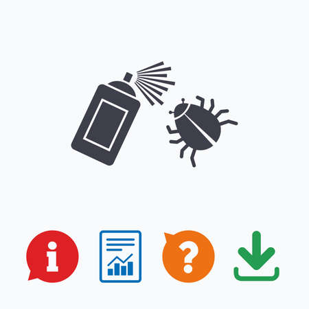 acarus: Bug disinfection sign icon. Fumigation symbol. Bug sprayer. Information think bubble, question mark, download and report.