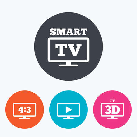 orange sign: Smart TV mode icon. Aspect ratio 4:3 widescreen symbol. 3D Television sign. Circle flat buttons with icon.