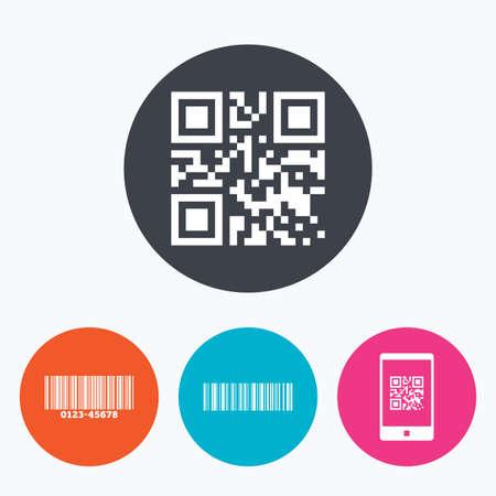 codigo de barras: Bar y QR Code iconos. Escanear código de barras en los símbolos de teléfonos inteligentes. Un círculo botones planos con el icono. Vectores