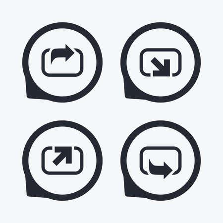 forward arrow: Action icons. Share symbols. Send forward arrow signs. Flat icon pointers.
