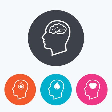 cerebro blanco y negro: Cabeza con el icono del cerebro. Masculinos símbolos de pensamiento humanos. La gota de sangre signo de donación. Amor corazon. Un círculo botones planos con el icono.