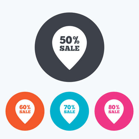50 to 60: Sale pointer tag icons. Discount special offer symbols. 50%, 60%, 70% and 80% percent sale signs. Circle flat buttons with icon.