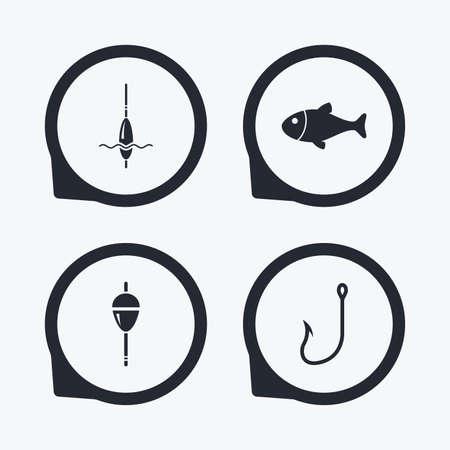 bobber: Fishing icons. Fish with fishermen hook sign. Float bobber symbol. Flat icon pointers.