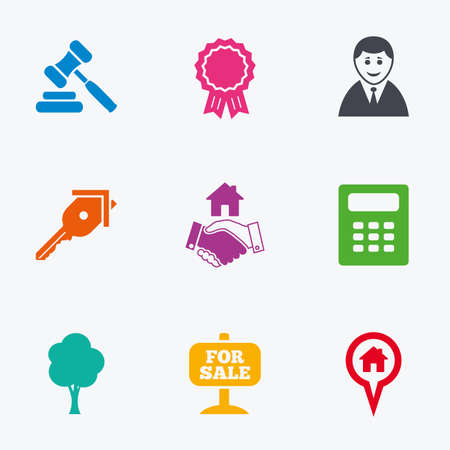 auction: Real estate, auction icons. Handshake, for sale and calculator signs. Key, tree and award medal symbols. Flat colored graphic icons.