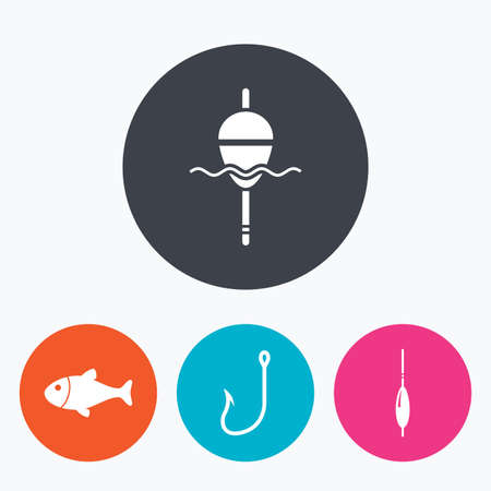 bobber: Fishing icons. Fish with fishermen hook sign. Float bobber symbol. Circle flat buttons with icon. Illustration