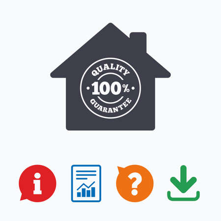 warranty questions: Construction works. 100% quality guarantee sign icon. Premium quality symbol. Information think bubble, question mark, download and report.