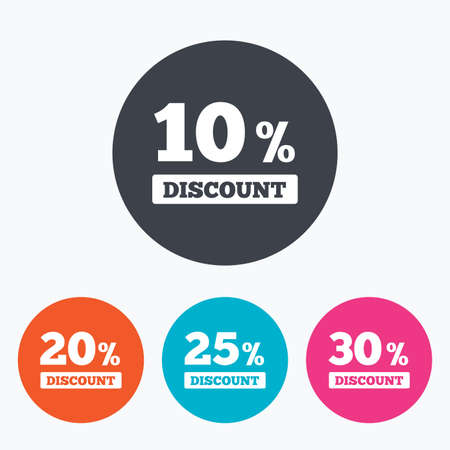 20 25: Sale discount icons. Special offer price signs. 10, 20, 25 and 30 percent off reduction symbols. Circle flat buttons with icon. Illustration