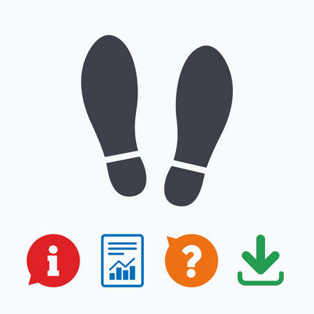 Imprint soles shoes sign icon. Shoe print symbol. Information think bubble, question mark, download and report.