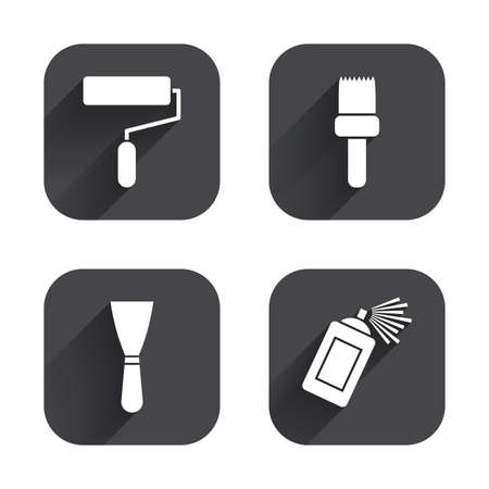 roller brush: Paint roller, brush icons. Spray can and Spatula signs. Wall repair tool and painting symbol. Square flat buttons with long shadow.