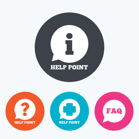 medical questions: Help point icons. Question and information symbols. FAQ speech bubble signs. Circle flat buttons with icon. Illustration