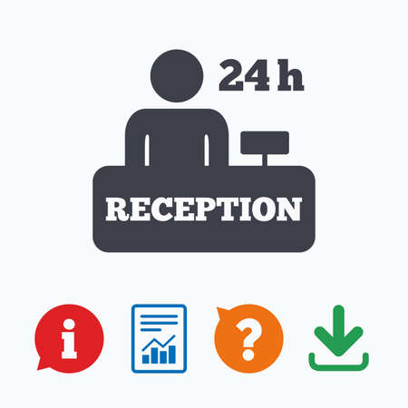 registration mark: Reception sign icon. 24 hours Hotel registration table with administrator symbol. Information think bubble, question mark, download and report.