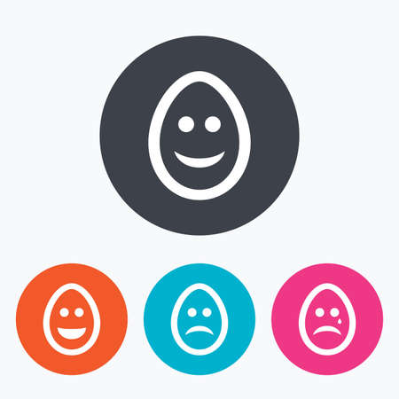 pasch: Eggs happy and sad faces icons. Crying smiley with tear symbols. Tradition Easter Pasch signs. Circle flat buttons with icon. Illustration
