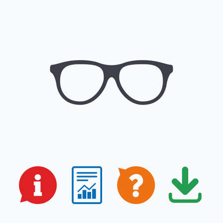 eyeglass frame: Retro glasses sign icon. Eyeglass frame symbol. Information think bubble, question mark, download and report.