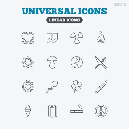 spermatozoa: Universal icons. Quotes, ribbon heart and cake. Clover, mushroom and ice cream. Smoking, knife and fork. Linear icons on white background. Illustration
