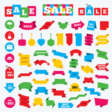 business case: Web stickers, banners and labels. Clothing accessories icons. Umbrella and headdress hat signs. Wallet with cash coins, business case symbols. Price tags set.