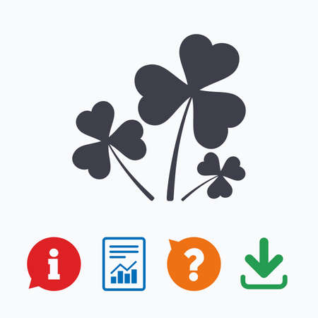 shamrock clover leaf: Clovers with three leaves sign icon. Saint Patrick trefoil shamrock symbol. Information think bubble, question mark, download and report.