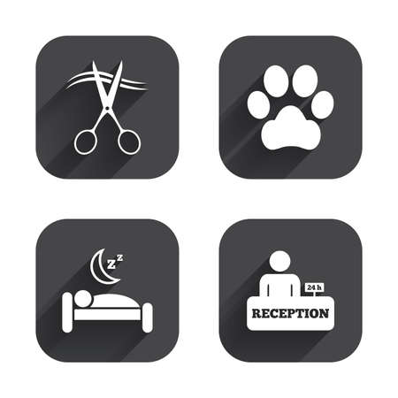 quiet room: Hotel services icons. With pets allowed in room signs. Hairdresser or barbershop symbol. Reception registration table. Quiet sleep. Square flat buttons with long shadow.
