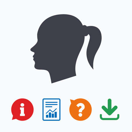 pigtail: Head sign icon. Female woman human head with pigtail symbol. Information think bubble, question mark, download and report. Illustration