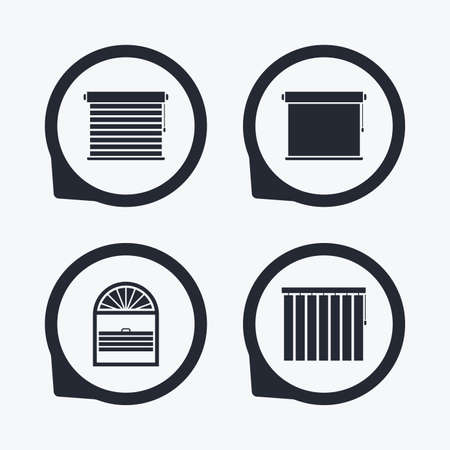 roll curtains: Louvers icons. Plisse, rolls, vertical and horizontal. Window blinds or jalousie symbols. Flat icon pointers.