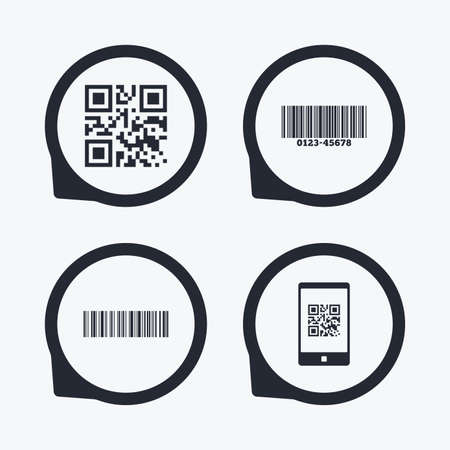 barcode scan: Bar and Qr code icons. Scan barcode in smartphone symbols. Flat icon pointers.