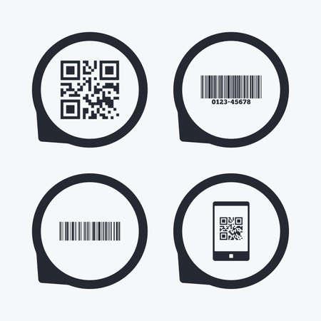 codigo de barras: Bar y QR Code iconos. Escanear código de barras en los símbolos de teléfonos inteligentes. punteros icono planas.