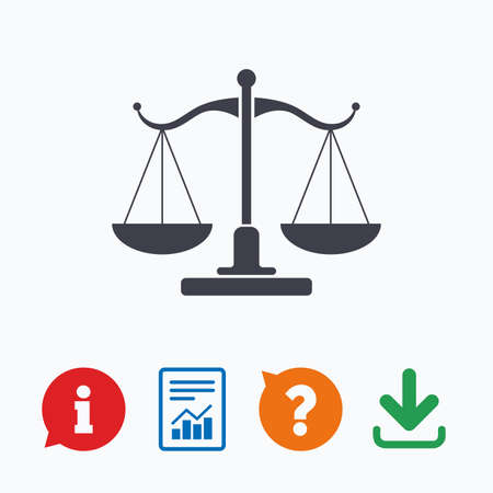 law report: Scales of Justice sign icon. Court of law symbol. Information think bubble, question mark, download and report.