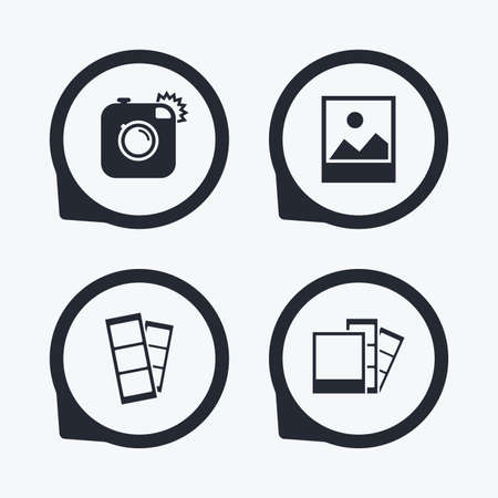 photo icon: Hipster photo camera icon. Flash light symbol. Photo booth strips sign. Landscape photo frame. Flat icon pointers.