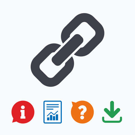 hyperlink: Link sign icon. Hyperlink chain symbol. Information think bubble, question mark, download and report. Illustration