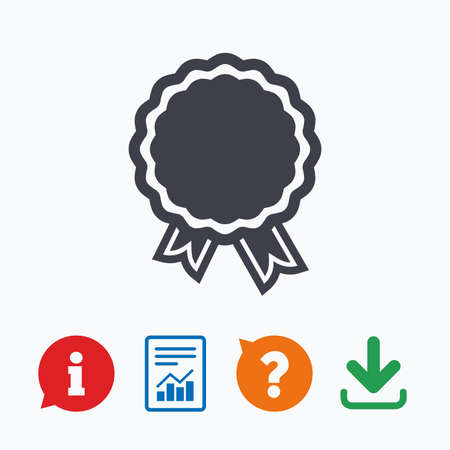 warranty questions: Award icon. Best guarantee symbol. Winner achievement sign. Information think bubble, question mark, download and report. Illustration