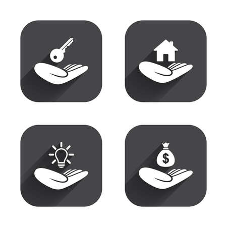 patent key: Helping hands icons. Financial money savings insurance symbol. Home house or real estate and lamp, key signs. Square flat buttons with long shadow.