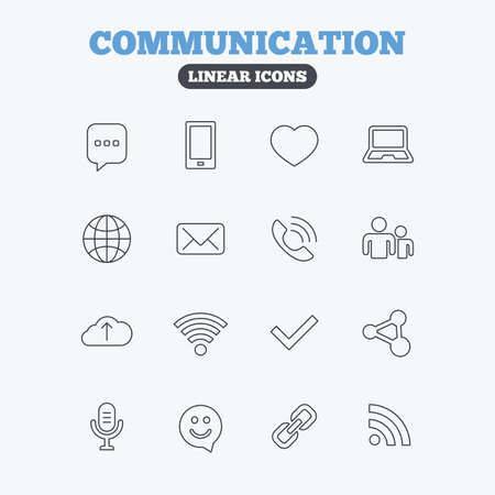 dating icons: Communication icons. Smartphone, laptop and speech bubble symbols. Wi-fi and Rss. Online love dating, mail and globe thin outline signs. Linear icons on white background. Illustration